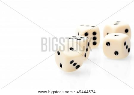 White Dice On White Table With Space For Text