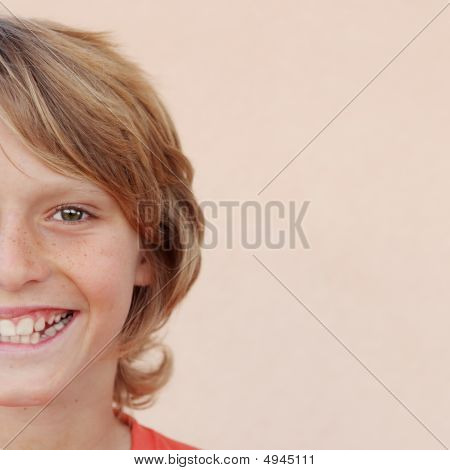 Half Portrait Of Happy Smiling Child