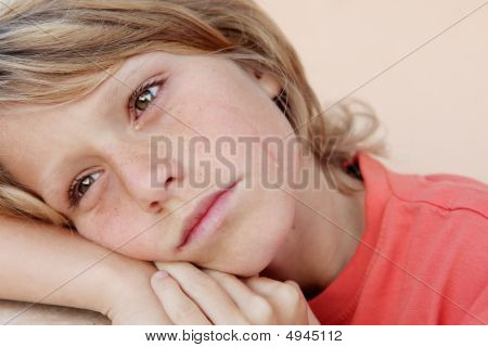 Imsad Unhappy Child With Visible Tears On Face