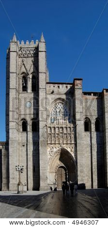 Cathedral Of Avila In Spain. Principal Front Entry