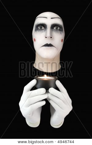 Mime With Burning Candles