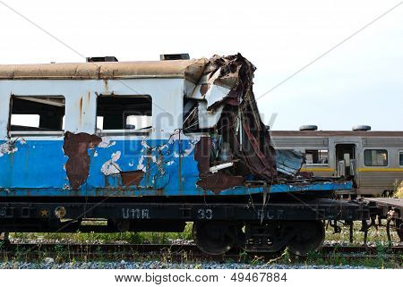 A Wreckage Of Crashed Or Damaged Train Taken From Train Yard