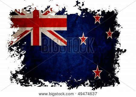 New Zealand Flag On Old Vintage Paper In Isolated White Background