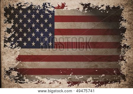 Us Flag On Old Vintage Paper