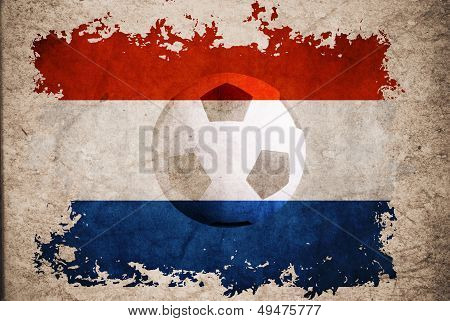 Netherland Rip Flag With Football Background