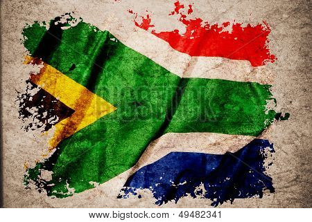 South Africa Flag On Old Vintage Paper