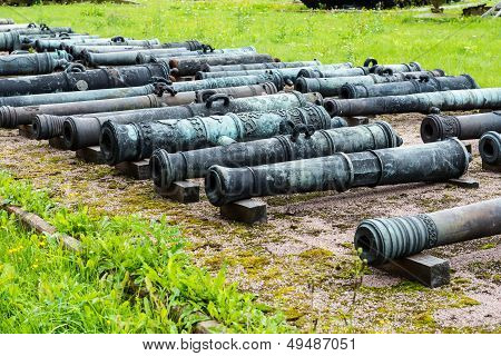 Old Vintage Russian Artillery Systems And Equipment On Grass