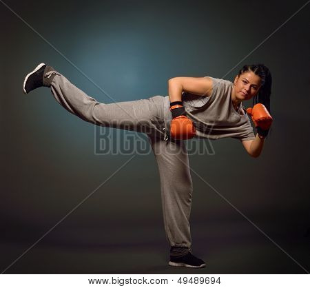 young athletic woman exercising