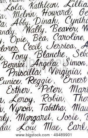 Cursive Handwritten Names