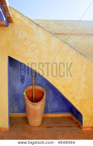 Spanish Golden Wall,under Stairs Blue
