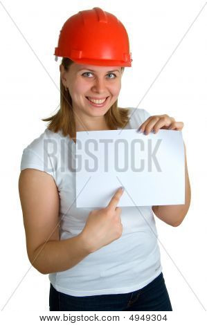 Smiling Women In A Red Building Helmet