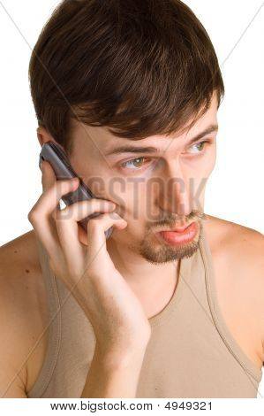 Young Sad Men With Cellular Phone