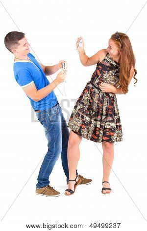 Young Couple Photographing