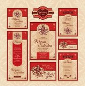 stock photo of dinner invitation  - Set of floral wedding cards - JPG