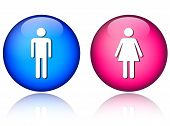 stock photo of female toilet  - Man woman icons isolated on a white background - JPG