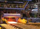 stock photo of ferrous metal  - Cold rolling department in ferrous metallurgy factory with hardware - JPG