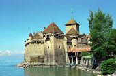 image of montre  - Old swiss castle Montre on the lake - JPG