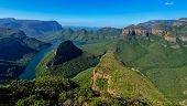 stock photo of veld  - Blyde River Canyon and The Three Rondavels  - JPG
