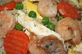foto of sweetpea  - Shrimp fried rice with chicken shrimp sausage egss sweetpeas and carrots - JPG