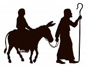 stock photo of donkey  - Silhouette illustrations of Mary and Joseph journeying with a donkey looking for a place to stay on Christmas Eve - JPG