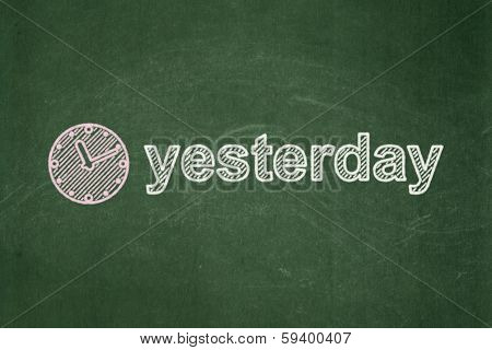 Time concept: Clock and Yesterday on chalkboard background