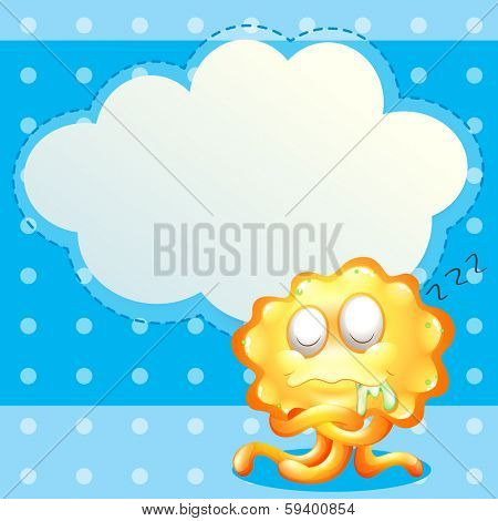 Illustration of a sleeping orange monster in front of the empty cloud template