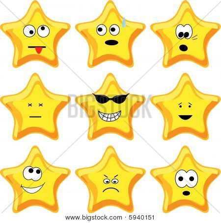 Set of nine cartoon gold stars