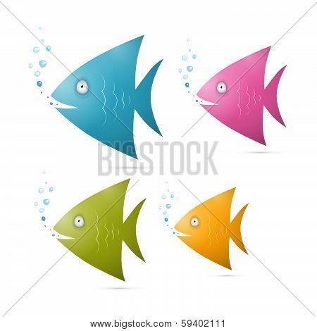 Colorful Fish Set Illustration