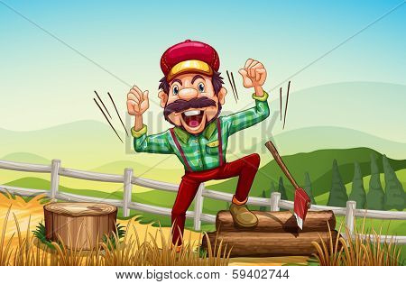 Illustration of a happy woodman at the hilltop