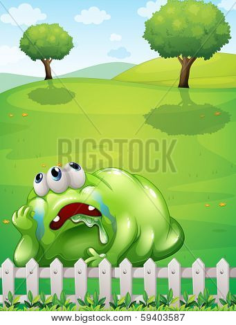 Illustration of a tired monster at the hilltop resting near the fence