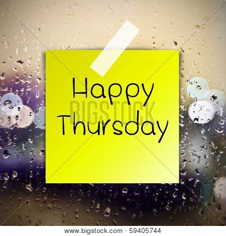 Happy Thursday With Water Drops Background With Copy Space