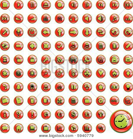 one hundred fully editable glossy vector web icons with details ready to use