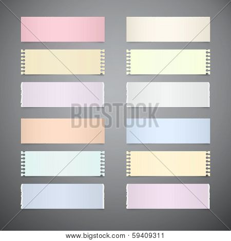 Vector Set of Retro Paper Sheets on Grey Background