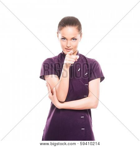 Young, happy and attractive girl in a uniform isolated on white (massage worker or sushi waiter robe)