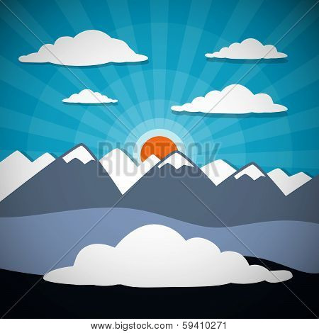 Mountain Retro Abstract Vector Background Illustration
