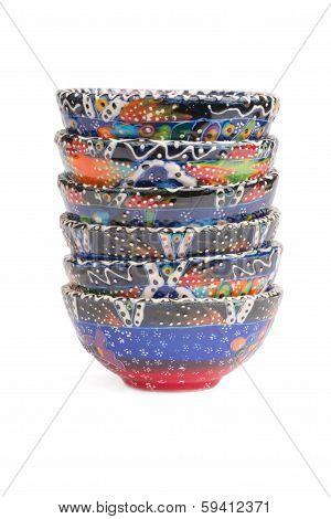 Multi colored handmade pottery