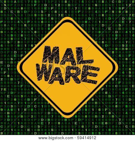 Malware warning sign on hex code illustration