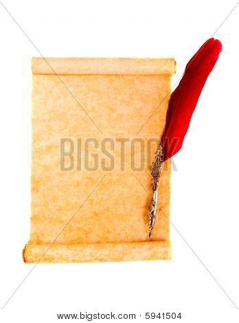 Scroll Page And Red Quill Pen