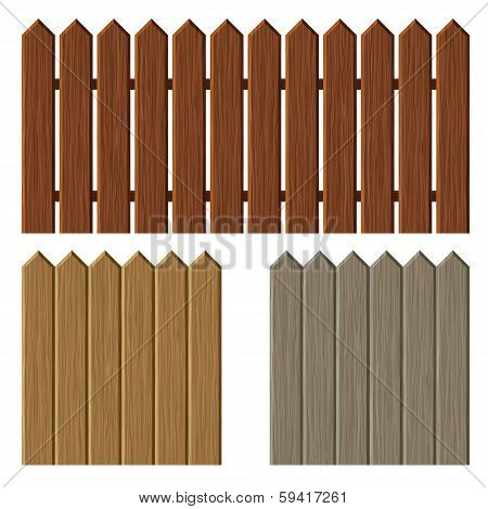 Fence with different wooden texture pattern