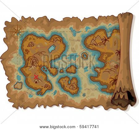 Illustration of pirate scroll map