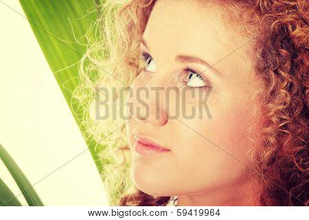 Teen girl in bikini - close up portrait isolated