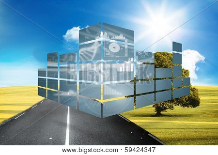 Dna interface on abstract screen against sunny green landscape with street