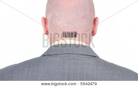 Young Bald Businessman From His Back With Barcode On Head