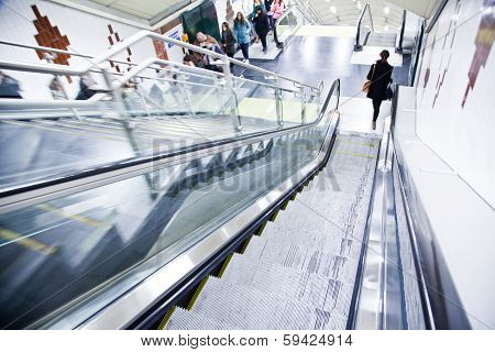 Escalator In Subway