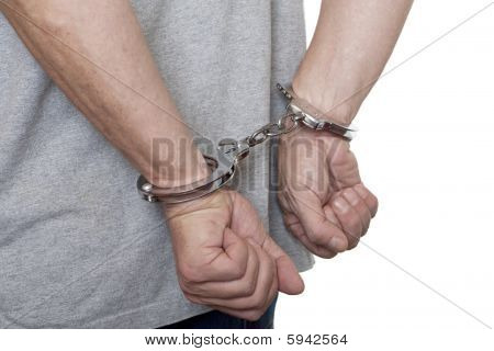 Handcuff Against White Background