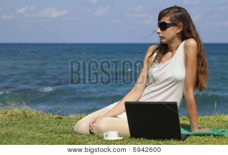 Relaxing Woman With Laptop