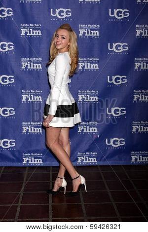 SANTA BARBARA - FEB 1:  Peyton List at the Santa Barbara International Film Festival Honors Cate Blanchett as Performer of the Year at Arlington Theater on February 1, 2014 in Santa Barbara, CA