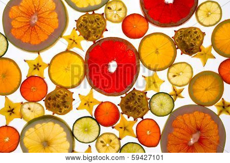 Vibrant Backdrop Of Translucent Sliced Fresh Fruit