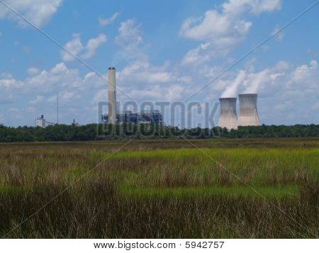 Nuclear Power Plant Next to a Florida Marsh