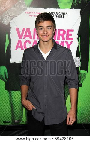 """LOS ANGELES - FEB 4:  Peyton Meyer at the """"Vampire Academy"""" Los Angeles Premiere at Regal 14 Theaters on February 4, 2014 in Los Angeles, CA"""